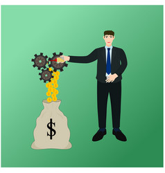 businessman oil drop gear profit money concept vector image