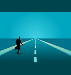Businessman on a long road vector