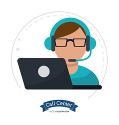 Call center man laptop headset vector