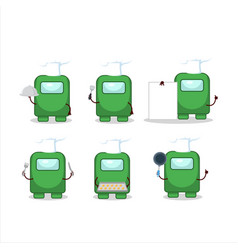 Cartoon character among us green with various vector
