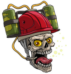 cartoon human skull in red drinking beer helmet vector image