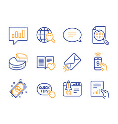 Chat phone payment and analytical chat icons set vector