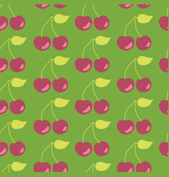 cherries seamless pattern background green vector image