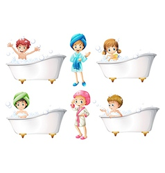 Children taking a bath vector image