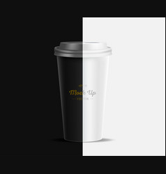 Coffee cup mockup on brown and white background vector