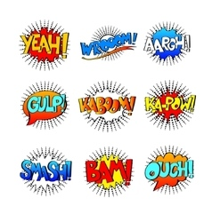 collection of nine multicolored comic sound vector image vector image