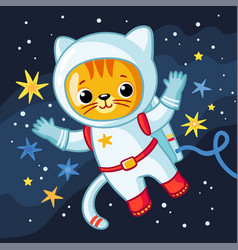 cute cosmonaut cat in a spacesuit flies in outer vector image