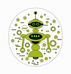 cute robot cartoon robotic character vintage icon vector image