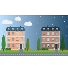 Day and night houses with trees vector