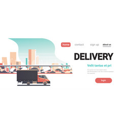 delivery van city shipping transportation service vector image