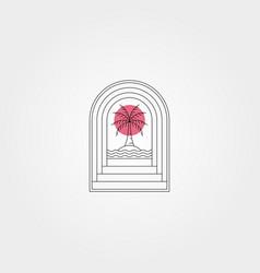 door and sunset palm tree logo symbol minimal vector image