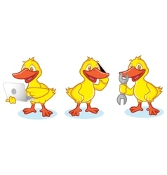 Duck Mascot with phone vector image