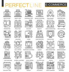 E-commerce stroke outline concept symbols perfect vector