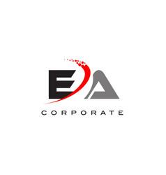 Ea modern letter logo design with swoosh vector