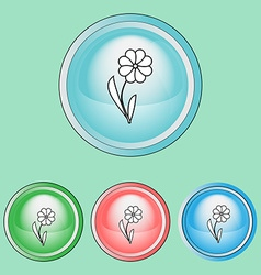Ecology icons set flora nature protection vector