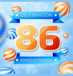 eighty six years anniversary celebration design vector image