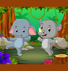 Elephant and rhino in the forest vector