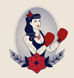 Emblem pinup boxing girl with flowers tattoos vector