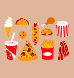 fast food clip art set with pizza soda and vector image