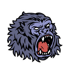 ferocious gorilla head colorful template vector image