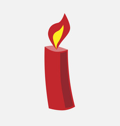 festive christmas red candle vector image vector image