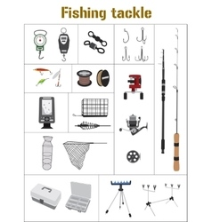Fishing tackle flat icon collection vector