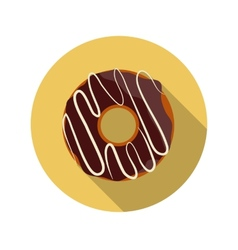 Flat Design Concept Chocolate Doughnut With vector