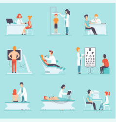 flat set of people on medical examination vector image