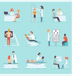 Flat set people on medical examination vector