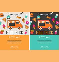 food truck fair night market summer fest food vector image