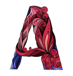 freehand drawing capital letter a with floral vector image