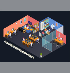 game development isometric composition vector image