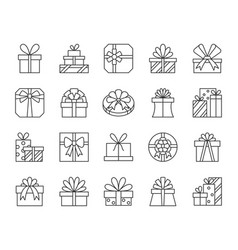 Gift simple black line icons set vector