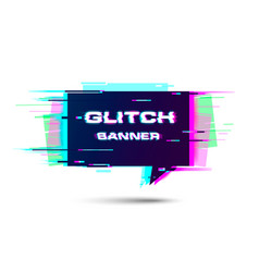 glitch banner with copyspace promotion banner vector image