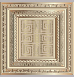 Gold 3d ancient greek style ornate panel pattern vector