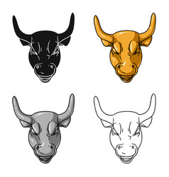 Golden charging bull icon in cartoon style vector
