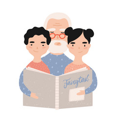 granddad reading book with grandchildren vector image