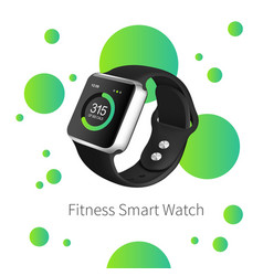 Green fitness watch on the white background with vector