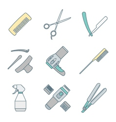 Hairdresser tools color outline icons set vector