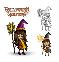 Halloween monsters spooky witch EPS10 file vector