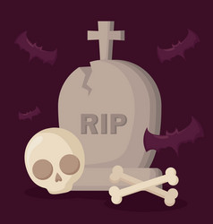 halloween tomb with skull and bats vector image