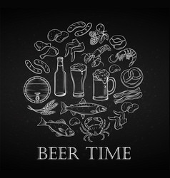 hand drawn beer and snack vector image