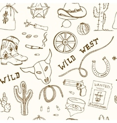 Hand drawn wild west seamless pattern vector