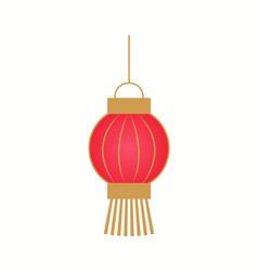 hanging red lantern with golden stripes vector image