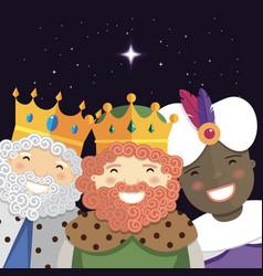 Happy three kings smiling in night vector