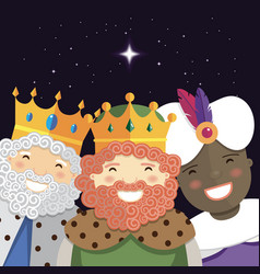 Happy three kings smiling in the night vector