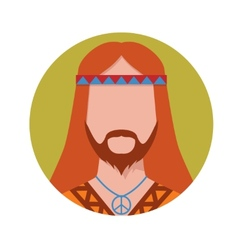 Hippie male avatar vector