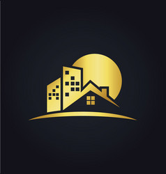 house realty business gold logo vector image