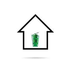 house with green basket vector image