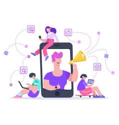 Influencer advertising marketing social media vector